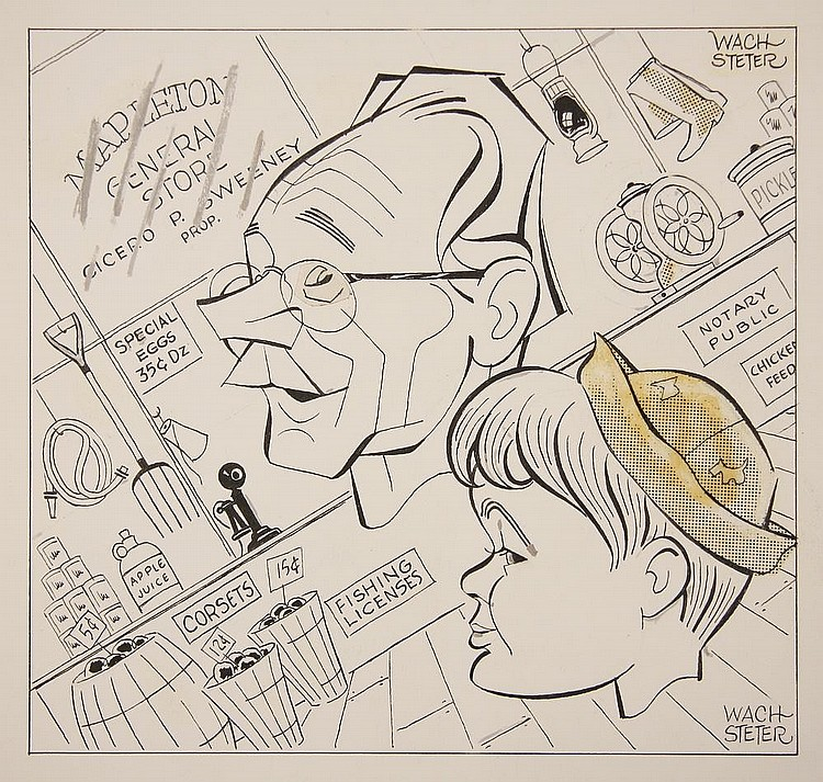 CARICATURE - George Wachsteter (1911-2004) Ink on Illustration Board with overlaid corrections and half-toning, layout for 'World of Mister Sweeney' promo, 8 1/2