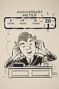 CARICATURE - George Wachsteter (1911-2004) Ink on Illustration Board of NYC Radio Host Arthur Godfrey with 'Anniversary Meter' above as he is on the air, 10 1/2