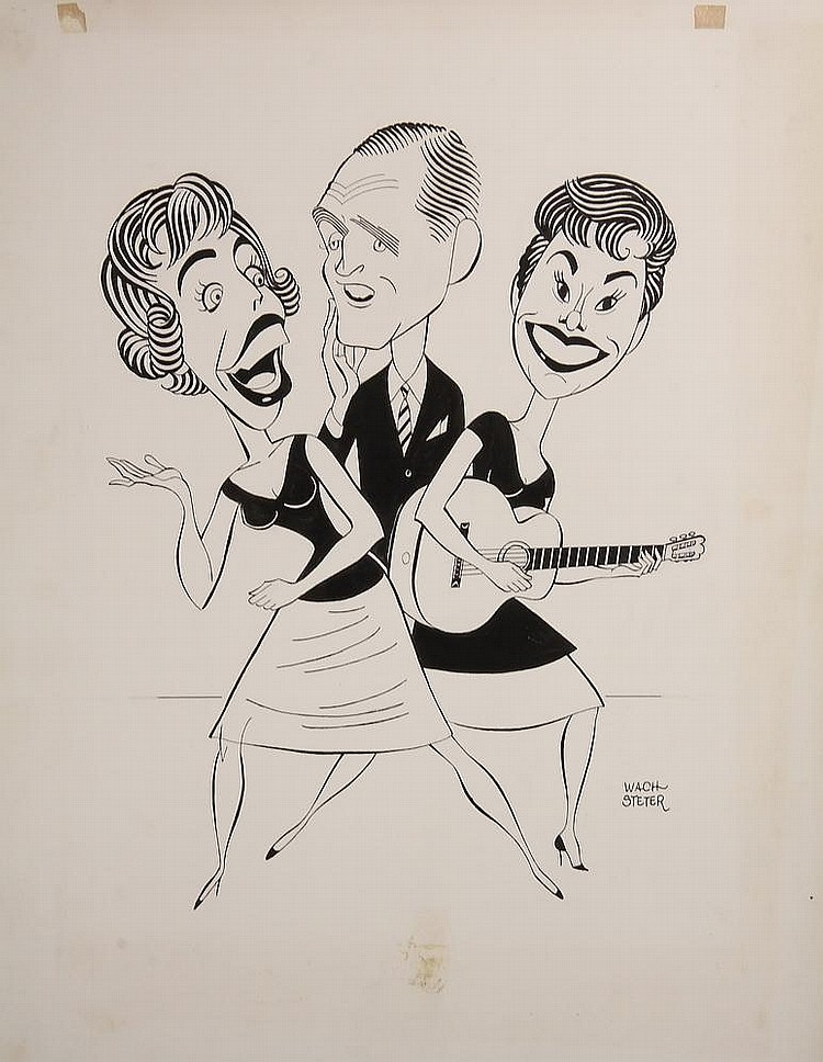 PEN & INK ILLUSTRATION - Caricature by George Wachsteter (1911-2004), of Carol Burnett, Bob Newhart and Caterina Valente for CBS-TV's 'The Entertainers', Nov 20, 1964. 14 1/2
