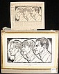 PEN & INK ILLUSTRATION - Triple Portrait by George Wachsteter (1911-2004), of Tony Award Winning Actors Arthur Kennedy, David Wayne and Sam Wanamaker, circa 1949, for the New York Journal-American. 5