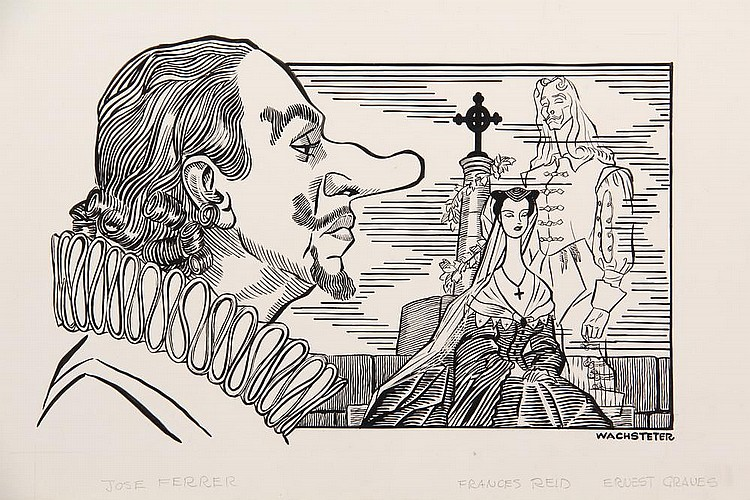 PEN & INK ILLUSTRATION - Caricature by George Wachsteter (1911-2004), of Jose Ferrer in his most memorable role as 'Cyrano de Bergerac' on Broadway, Oct 1946 - Mar 1947, 5 1/2