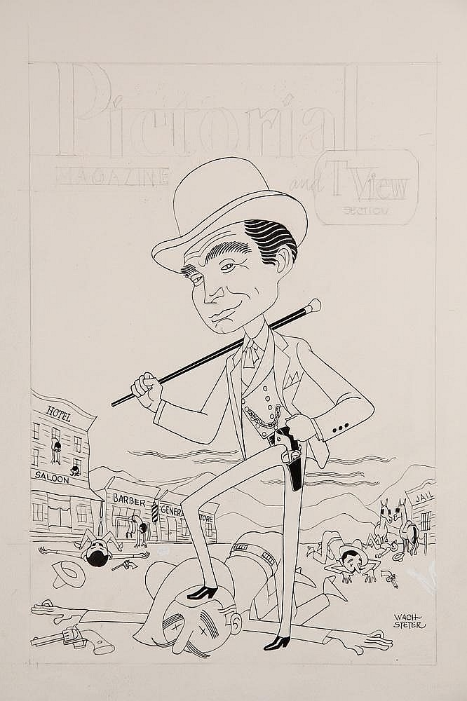 CARICATURE - George Wachsteter (1911-2004) Ink and Pencil on Illustration Board Caricature Cover Design & Color Overlay of Gene Barry as Bat Masterson, 14