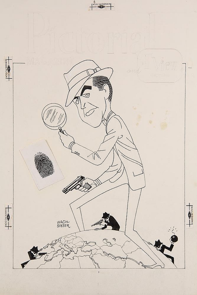 CARICATURE - George Wachsteter (1911-2004) Ink and Pencil on Illustration Board with Color Overlay Caricature Cover Design of 'Ray Milland, Globe-Trotting Sleuth', 14