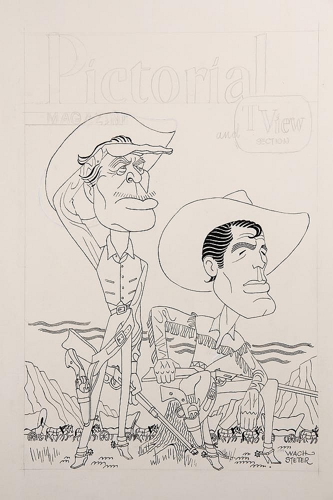 CARICATURE - George Wachsteter (1911-2004) Ink on Illustration Board Caricature Portrait of Ward Bond and Robert Horton in 'Wagon Train', 14 1/4