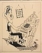 CARICATURE - George Wachsteter (1911-2004) Ink on Illustration Board Caricature Portrait of Ernie Ford at a Pump Organ, for his TV show, 13