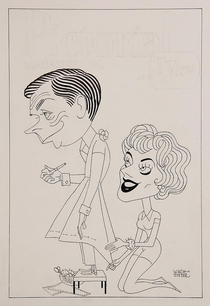 CARICATURE - George Wachsteter (1911-2004) Ink on Illustration Board drawing with color overlay, to promote the sitcom, 'The Tom Ewell Show'. 13 1/2