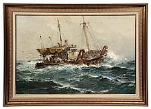 JACK LORIMER GRAY, (NY/CAN, 1927-1981); Trawler in Heavy Seas, oil on canvas, signed lower left and dated '61