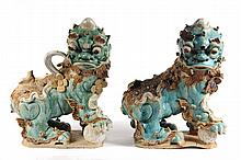PR CHINESE ROOF TILE FINIALS - Ming Dynasty Ceramic Guardian Foo Dogs in tri-color glazes, predominately aqua, both facing right. 17 1/