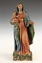 TERRA COTTA STATUE - Polychromed Figure of Madonna & Child, Italian, 16th c. 19