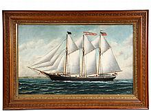 S.F.M. BADGER (MA, 1873-1919) - Portrait of Three-Mast Schooner 'Jose Olaverri' , oil on canvas, signed lower left and dated '96'.