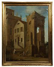 CIRCLE OF LEONARDO COCCORANTI (Naples, 1680-1750), POSS. - 17th-18th c. Italian Capriccio of a Mill Constructed among Classical Ruins,