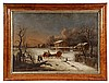 UNKNOWN ARTIST - Hamlet Winter Scene with Horse Drawn Sleigh, in the manner of Cornelius Krieghoff (Canada, 1812-1872), oil on canvas u, Cornelius David Krieghoff, $500