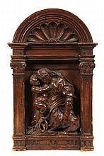 ITALIAN TABERNACLE - 17th c. Madonna & Child in walnut, set into softwood tabernacle frame with arched shell top, supported by flat Cor