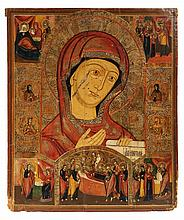 LARGE RUSSIAN ICON - Portrait of the Holy Mother in oils and gilt-work on wood, surrounded by scenes from her life, with scraffito deco