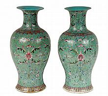 A PAIR OF CHINESE PORCELAIN VASES - Famille Rose Baluster Vases, late 19th - early 20th century, decorated with multiple floral motifs