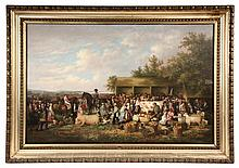 WILLIAM GARL BROWNE, JR. (NY/VA, 1823-1894), Southern Fair, oil on canvas, unsigned. Sign on right reads