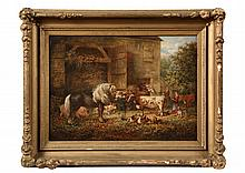 WILLIAM GARL BROWNE, JR. (NY/VA, 1823-1894), unsigned, oil on canvas. Southern barnyard genre scene with display of livestock being ten