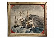NAIVE CIVIL WAR SHIP'S PORTRAIT - USS Hartford in a Storm, unsigned, inscribed at bottom, graphite and watercolor on paper