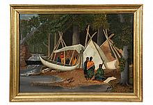 NAIVE PAINTING OF NATIVE AMERICAN INDIANS - Circa 1850s, View of Summer Encampment with Canoe on River. Unsigned. Appears to be Algonqu