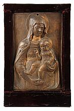ITALIAN TERRA COTTA BAS RELIEF PLAQUE - Renaissance Portrait of the Virgin and Christ Child in molded and carved red clay, Florence, pr