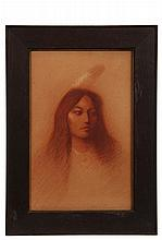 FRANCIS WEST (RI, 1881-1971), Portrait of a Beautiful Young Native American Woman, red and white chalk on tan paper, signed lower right