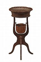RARE NANTUCKET BASKET TABLE - Sewing Stand with open basket at top in wicker set into turned and scribed top, having an inverted rim