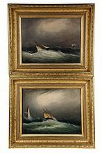 CLEMENT DREW (MA, 1806-1889); Two Views of Sailing Ships Being Swamped in Storms, one near a lighthouse, the other with rescuer approac