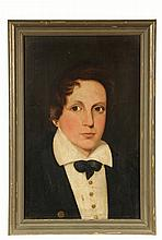 NAIVE PORTRAIT - Bust Portrait of a Young Boy in Midshipman's Uniform, circa 1835, oil on panel, unsigned. SS: 18