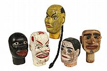 (5) FOLK ART MARIONETTE HEADS - Late 19th c. Carved and Painted Solid Wood Heads representing a Caucasian, African-American, Oriental a