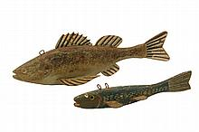 (2) PRIMITIVE FISH DECOYS - Late 19th c. Folk Art Fishing Lures, Walleye & Minnow, in carved and painted wood with tin fins, 8 1/2