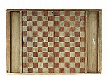 COUNTRY GAME BOARD - Folk Art Pine Double-Sided Board in green paint and natural finish, having gamepiece pockets at each end, inscribe