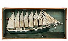 MONUMENTAL SHIP DIORAMA - Primitive Model of the Seven-Mast Schooner