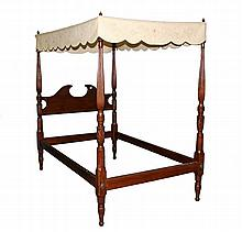 CANOPY BED - Period Chippendale mahogany, rose printed quilted flat canopy, reeded and leaf carved posts. 73