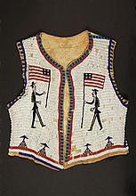 SIOUX BEADED PICTORIAL VEST - Circa 1890-1910 Man's Vest in glass beadwork over brain-tanned deer hide, having a white ground with par