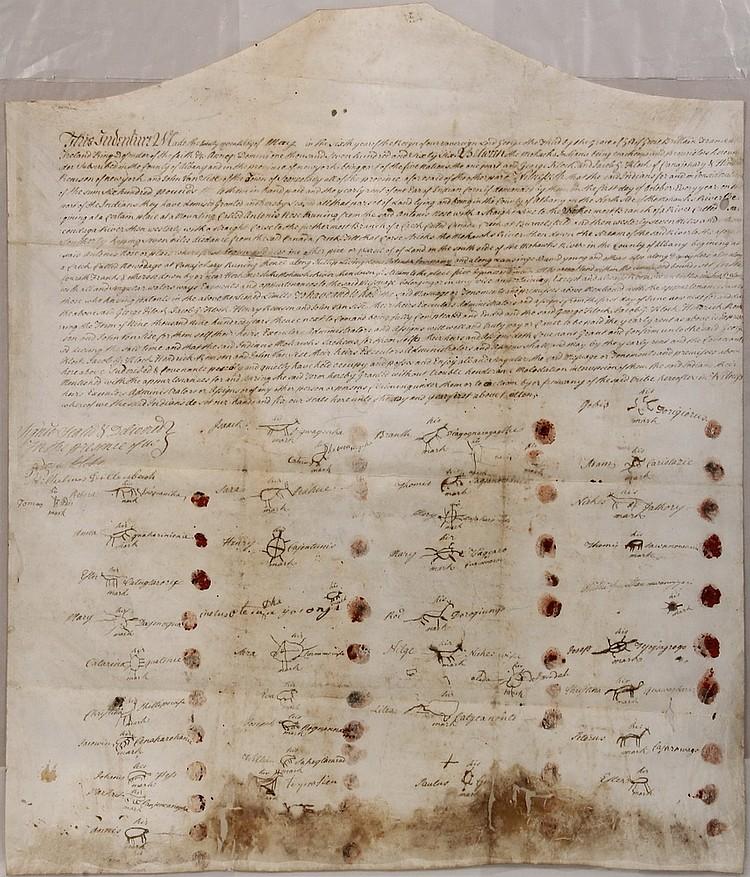 RARE UPSTATE NEW YORK NATIVE AMERICAN TREATY - Canajoharie Patent Treaty with the Mohawks, made by George Klock, Jacob G Klock, [inform
