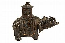 CHINESE BRONZE - Early Qing Dynasty Figure of an Elephant with tabard and howdah, chased decoration, remnants of gilding. 5