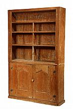 MAINE COUNTRY CUPBOARD - Early 19th c. Pumpkin Pine Open Top Cupboard, having three shelves, two lower doors with molded and gabled pan