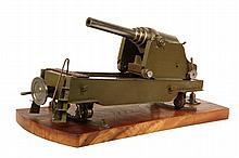 RARE WWI PROTOTYPE CANNON MODEL - Finely Machined Steel Operational Model of a Pivoting Coastal Fortress Gun, with olive drab painted m