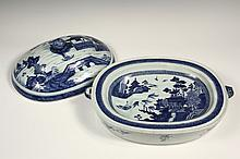 CHINESE PORCELAIN COVERED PLATTER - 19th c. Blue Canton Oversize Oval Deep Well Food Warmer with matching dome cover having fruit form