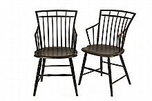 PAIR OF WINDSOR CHAIRS - Fine New England Windsor Cage-back Armchairs, having original black paint and striped ochre decoration, retain