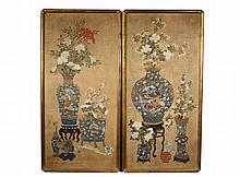 PAIR OF CHINESE BOTANICAL PAINTINGS ON SILK - 18th c. Watercolor on Silk Panels featuring vases of flowers, a Ruyi sceptre and various