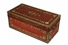 CHINA TRADE TRUNK - Camphorwood Seaman's Trunk having red painted and gold floral decorated painted leather covering, surrounded by br