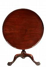 TILT TOP TEA TABLE - American Chippendale Round Table in solid mahogany, having a boldly molded top with raised rim, the column with bo