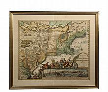 RARE EARLY MAP OF NORTH AMERICA - Matthias Seutter, copperplate engraving on laid paper, with later hand coloring, circa 1730;