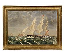FOLK ART SHIP'S PORTRAIT -