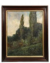 WILLIAM LANGSON LATHROP (NY/PA/OH/IL, 1859-1938) - The Broken Fence, oil on canvas, signed lower left