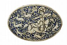 PERSIAN TILE - Architectural Oval Tile, Qajar Era, early 19th c, depicting a deer hunter on horseback, with dog beneath. On white clay.