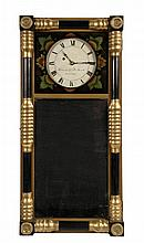 RARE NEW HAMPSHIRE MIRROR CLOCK - Bracket Clock by Benjamin Morrill of Boscawen, NH
