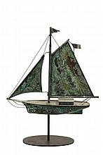 BOAT FORM WEATHERVANE - Copper Verdigris Sloop, circa early to mid 20th c. On museum mount. 20