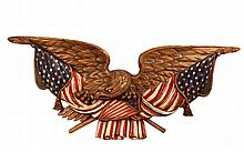 MONUMENTAL EAGLE WALL PLAQUE - Polychrome Mahogany Spreadwing Eagle with American flags and shield, unsigned. Circa 1950. 26